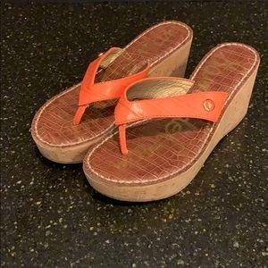Sam Edelman Romy Cork Wedge Platform Sandals 7M